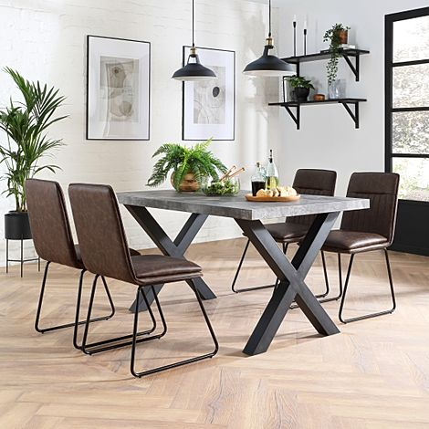 Franklin 200cm Concrete Dining Table with 4 Flint Vintage Brown Leather Chairs