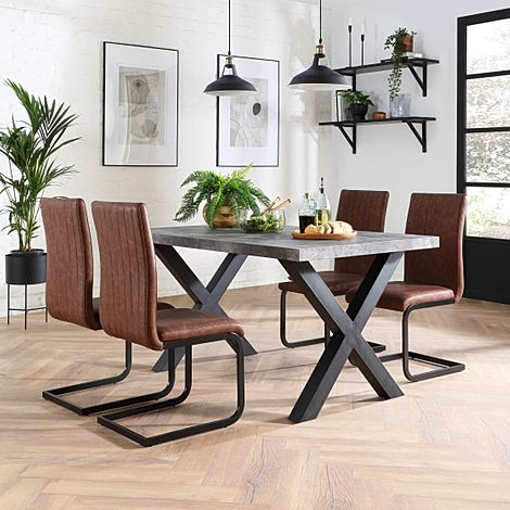 Franklin 200cm Concrete Dining Table with 4 Perth Tan Leather Chairs