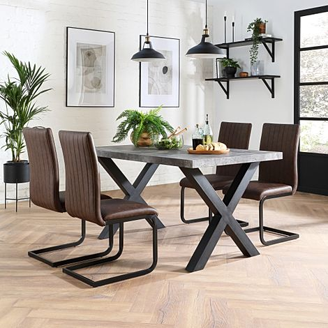 Franklin 200cm Concrete Dining Table with 4 Perth Vintage Brown Leather Chairs