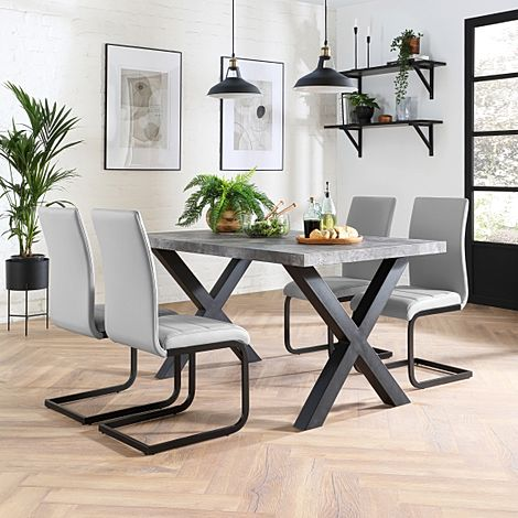 Franklin 200cm Concrete Dining Table with 4 Perth Light Grey Leather Chairs (Black Legs)