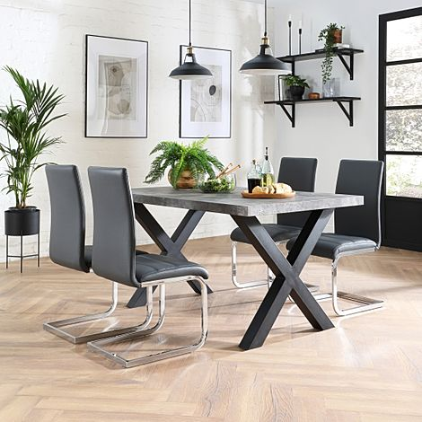 Franklin 200cm Concrete Dining Table with 4 Perth Grey Leather Chairs