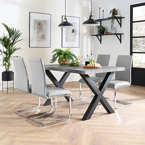 Franklin 200cm Concrete Dining Table with 4 Perth Light Grey Leather Chairs