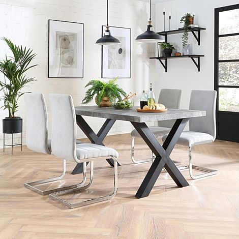 Franklin 200cm Concrete Dining Table with 4 Perth Dove Grey Fabric Leather Chairs