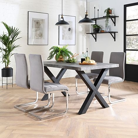 Franklin 200cm Concrete Dining Table with 4 Perth Grey Velvet Chairs