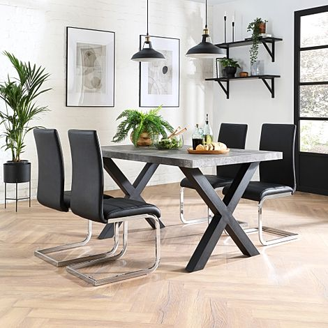 Franklin 200cm Concrete Dining Table with 4 Perth Black Leather Chairs