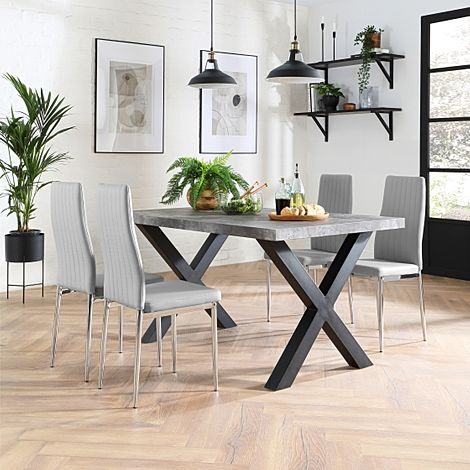 Franklin 200cm Concrete Dining Table with 4 Leon Light Grey Leather Chairs