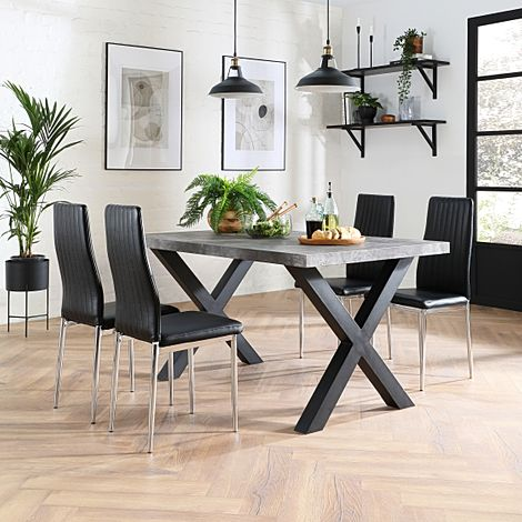 Franklin 200cm Concrete Dining Table with 4 Leon Black Leather Chairs
