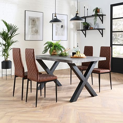 Franklin 200cm Concrete Dining Table with 4 Renzo Tan Leather Chairs