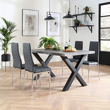 Franklin 200cm Concrete Dining Table with 4 Renzo Grey Leather Chairs