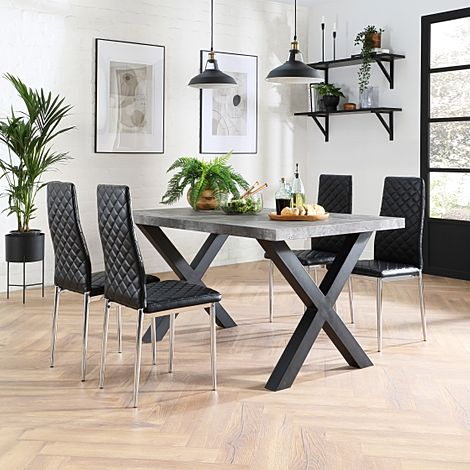 Franklin 200cm Concrete Dining Table with 4 Renzo Black Leather Chairs