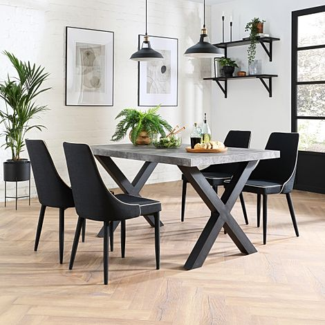 Franklin 200cm Concrete Dining Table with 4 Modena Black Fabric Chairs