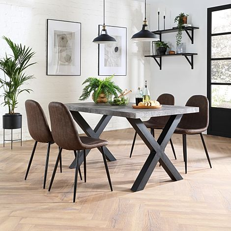 Franklin 200cm Concrete Dining Table with 4 Brookyln Vintage Brown Leather Chairs