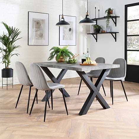 Franklin 200cm Concrete Dining Table with 4 Brookyln Grey Velvet Chairs