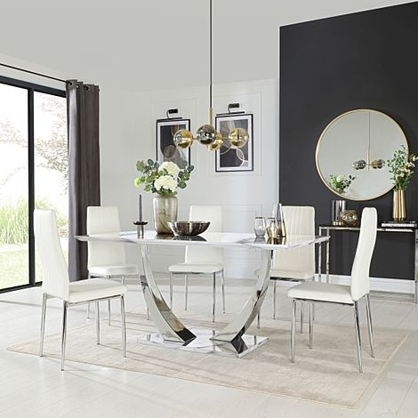 Peake White Marble and Chrome Dining Table with 6 Leon White Leather Chairs