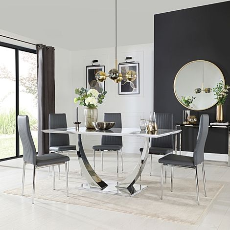 Peake White Marble and Chrome Dining Table with 4 Leon Grey Leather Chairs