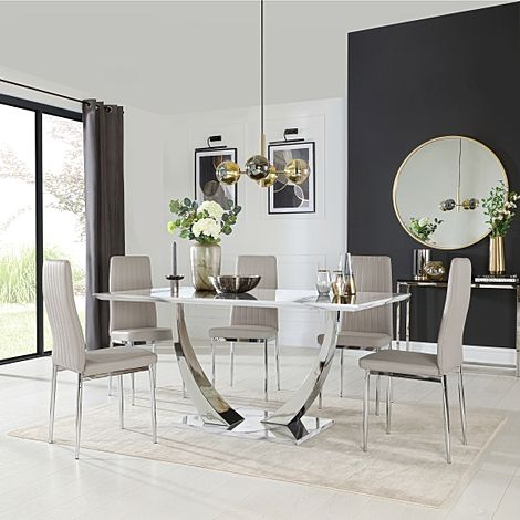 Peake White Marble and Chrome Dining Table with 4 Leon Stone Grey Leather Chairs