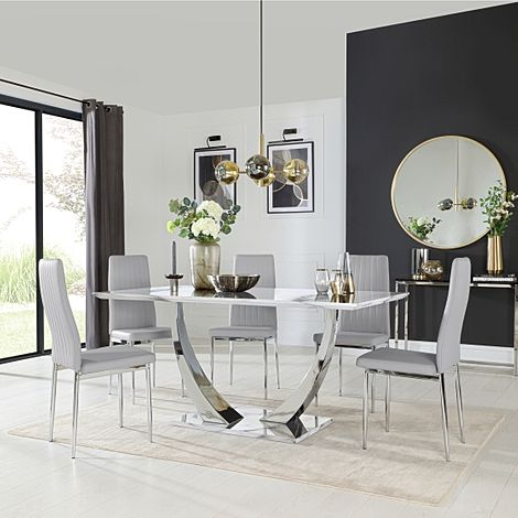 Peake White Marble and Chrome Dining Table with 6 Leon Light Grey Leather Chairs