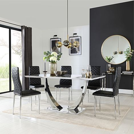 Peake White Marble and Chrome Dining Table with 6 Renzo Black Leather Chairs