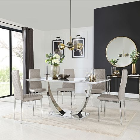 Peake White Marble and Chrome Dining Table with 6 Renzo Stone Grey Leather Chairs