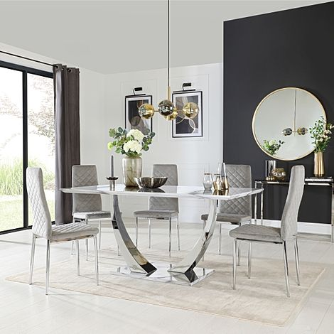 Peake White Marble and Chrome Dining Table with 6 Renzo Grey Velvet Chairs