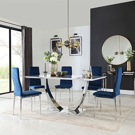 Peake White Marble and Chrome Dining Table with 6 Renzo Blue Velvet Chairs