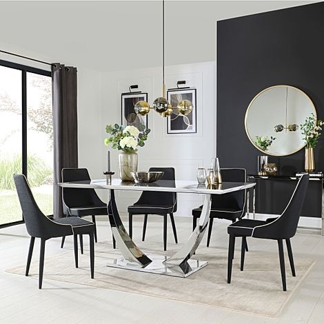 Peake White Marble and Chrome Dining Table with 6 Modena Black Fabric Chairs