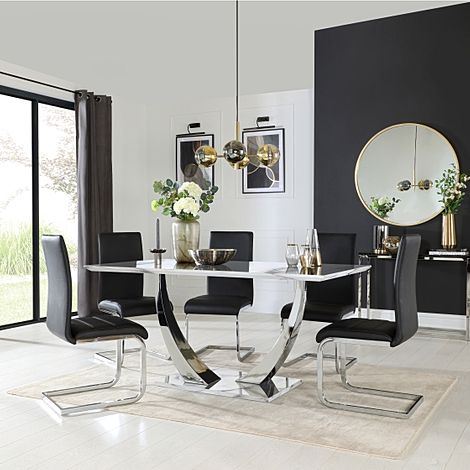 Peake White Marble and Chrome Dining Table with 6 Perth Black Leather Chairs