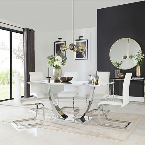 Peake White Marble and Chrome Dining Table with 6 Perth White Leather Chairs