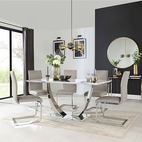 Peake White Marble and Chrome Dining Table with 6 Perth Stone Grey Leather Chairs