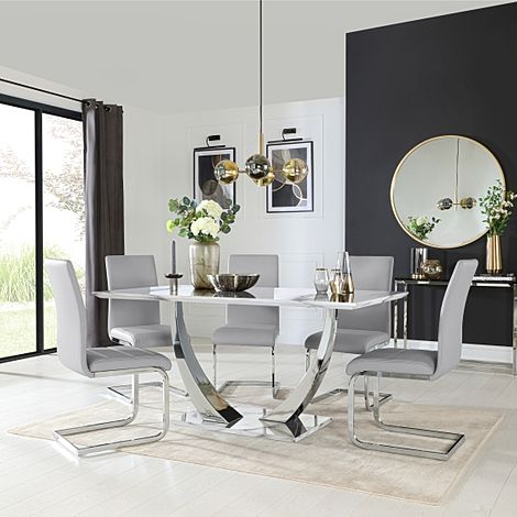 Peake White Marble and Chrome Dining Table with 6 Perth Light Grey Leather Chairs