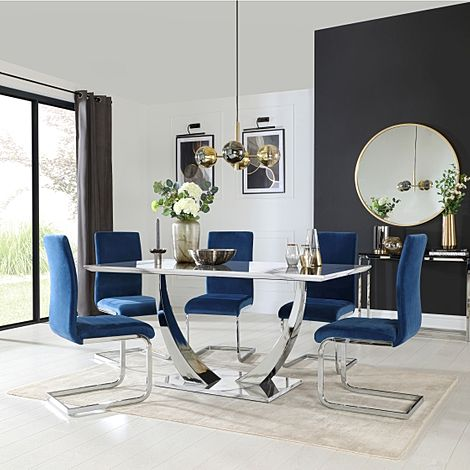 Peake White Marble and Chrome Dining Table with 4 Perth Blue Velvet Chairs