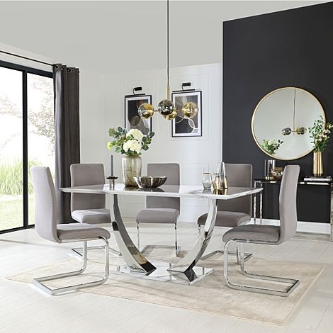 Peake White Marble and Chrome Dining Table with 6 Perth Grey Velvet Chairs
