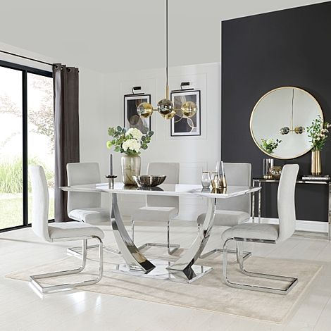 Peake White Marble and Chrome Dining Table with 6 Perth Dove Grey Fabric Chairs