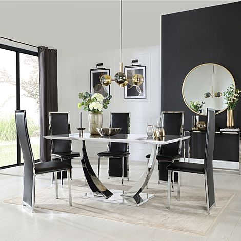 Peake White Marble and Chrome Dining Table with 6 Celeste Black Leather Chairs