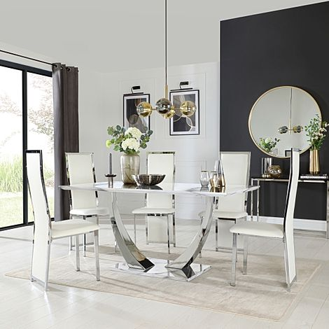 Peake White Marble and Chrome Dining Table with 6 Celeste White Leather Chairs