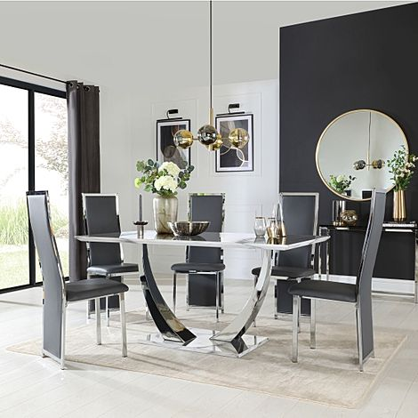 Peake White Marble and Chrome Dining Table with 6 Celeste Grey Leather Chairs