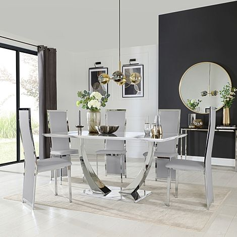 Peake White Marble and Chrome Dining Table with 6 Celeste Light Grey Leather Chairs