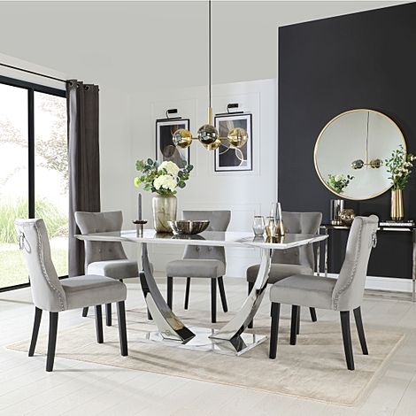 Peake White Marble and Chrome Dining Table with 6 Kensington Grey Velvet Chairs