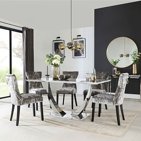 Peake White Marble and Chrome Dining Table with 6 Kensington Silver Velvet Chairs