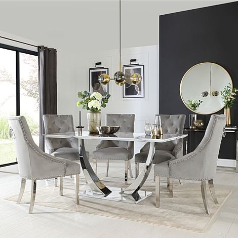 Peake White Marble and Chrome Dining Table with 4 Imperial Grey Velvet Chairs