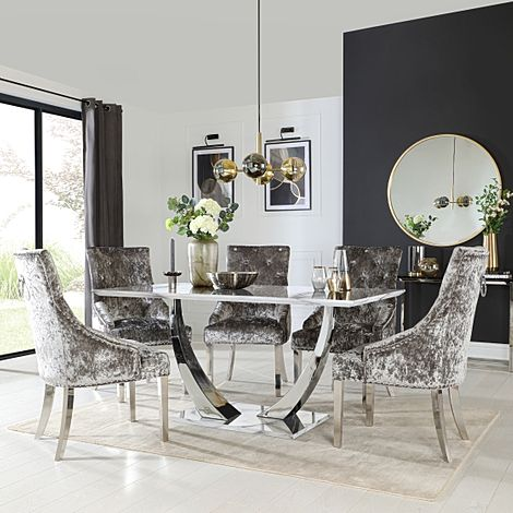 Peake White Marble and Chrome Dining Table with 6 Imperial Silver Velvet Chairs