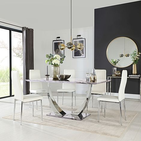 Peake Grey Marble and Chrome Dining Table with 6 Leon White Leather Chairs