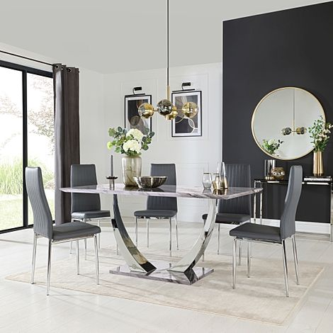 Peake Grey Marble and Chrome Dining Table with 4 Leon Grey Leather Chairs