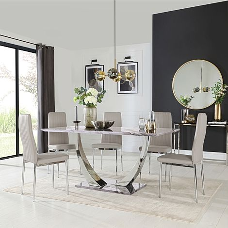 Peake Grey Marble and Chrome Dining Table with 4 Leon Stone Grey Leather Chairs