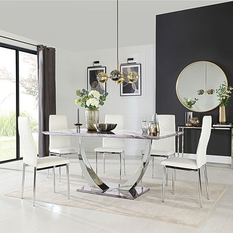 Peake Grey Marble and Chrome Dining Table with 6 Renzo White Leather Chairs