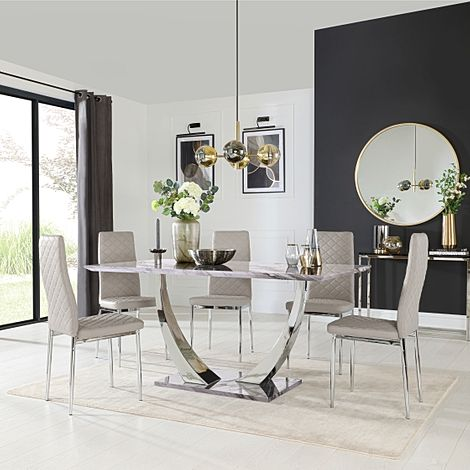 Peake Grey Marble and Chrome Dining Table with 4 Renzo Stone Grey Leather Chairs