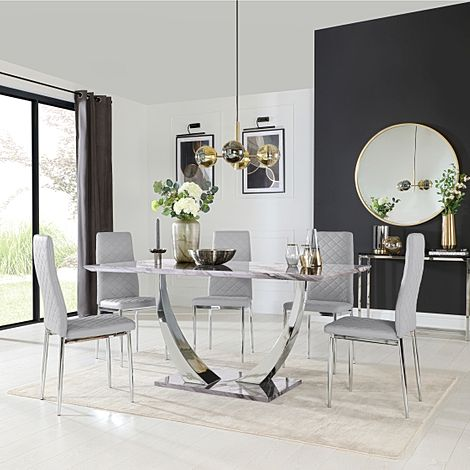 Peake Grey Marble and Chrome Dining Table with 6 Renzo Light Grey Leather Chairs