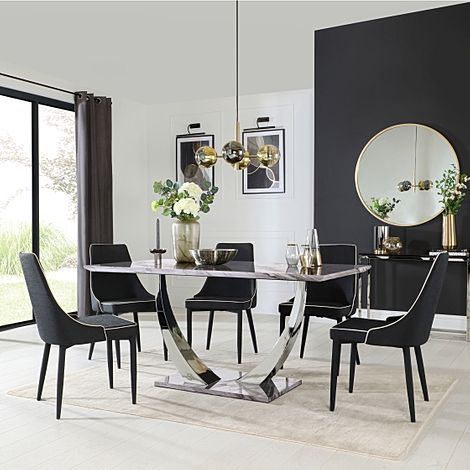 Peake Grey Marble and Chrome Dining Table with 6 Modena Black Fabric Chairs