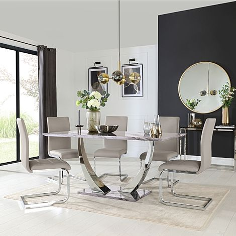 Peake Grey Marble and Chrome Dining Table with 4 Perth Stone Grey Leather Chairs