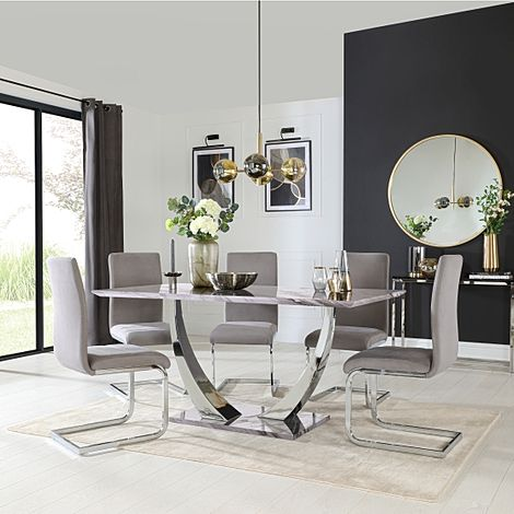 Peake Grey Marble and Chrome Dining Table with 6 Perth Grey Velvet Chairs